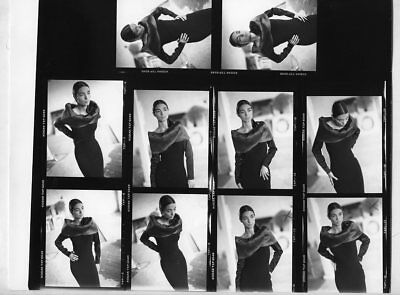 "*Q422 LOT OF 10 B/W 3"" NEGATIVES + CONTACT PHOTO Model In Black Evening Dress"