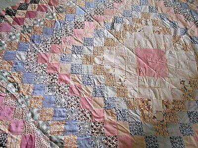 Antique/Vintage Feed Sack Fabric Trip Around the World Quilt Top Pinks Florals