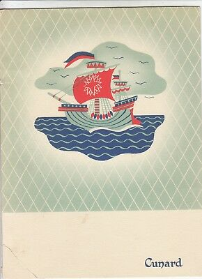 Cunard Line R.M.S. Queen Elizabeth Strictly Kosher Menu booklet June 1954