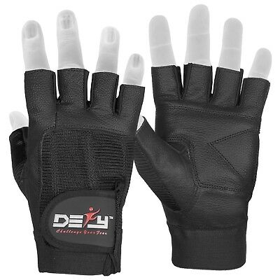 DEFY Real Leather Spandex Padded Gym Gloves Fitness Weightlifting Training Black