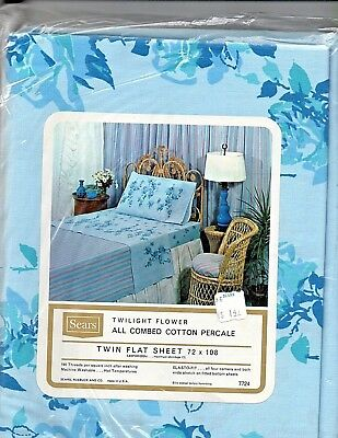 Vintage Sears Baby Blue & Roses Twin Flat  Sheet Cotton In Original Package NOS