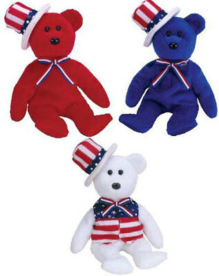 TY Beanie Babies - SAM the Bears (Set of 3 - Red, White & Blue) (9 inch) - MWMTs