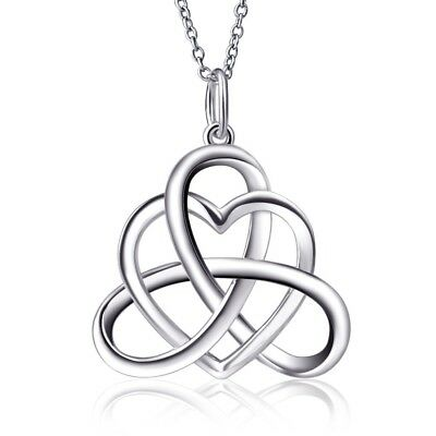 925 Sterling Silver Good Luck Irish Heart with Triangle Celtic Knot Vintage Pend