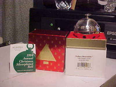 Wallace Silversmiths Silverplated Sleigh Bell 24th Edition 1994 Ornament In Box