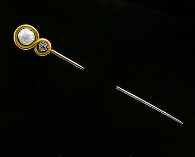 Vintage Art Nouveau 14K Yellow Gold Button Pearl Sapphire Stick Pin