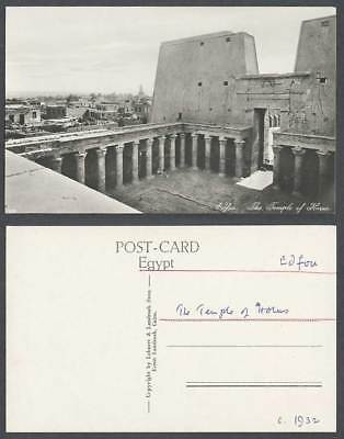 Egypt c.1932 Old Real Photo Postcard Edfu Edfou, Temple of Horus, Ruins Carvings