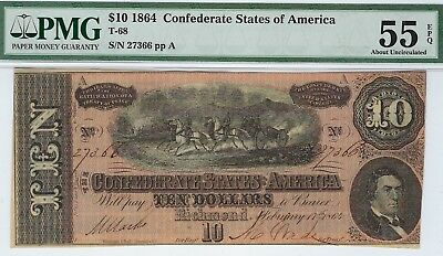 T-68 PF-27 $10 Confederate Paper Money 1864 - PMG About Uncirculated 55 EPQ!