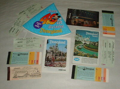 1960s AND 70s DISNEYLAND GUIDES AND TICKETS AND 40TH ANNIVERSARY HAT