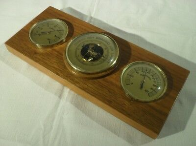 edle WETTERSTATION mit 3 Messing Instrumenten & Holzsockel Barometer Thermometer