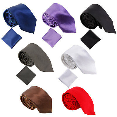 Mens Silk Solid Knitted Cotton Skinny Slim Necktie Tie Hanky Square Handkerchief