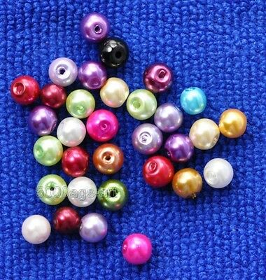 100pcs mixed color charm bead Round Glass Pearl Spacer Beads 6mm