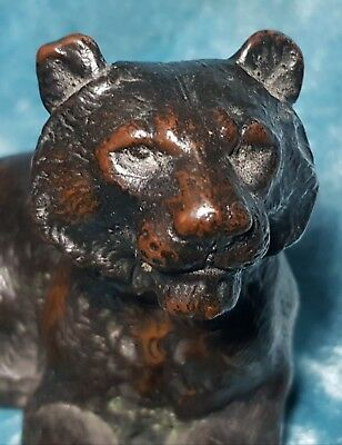 Large Antique Bronze/ Copper Figure Of A Lion/ Panther .nr  ( Not Resin )