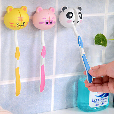 Lovely Cartoon Animal Head Toothbrush Holder Stand Cup Mount Suction Funny