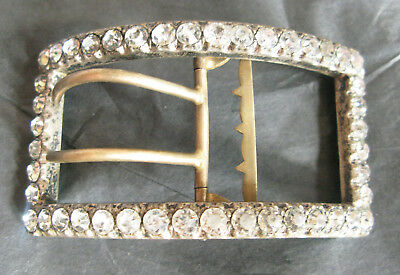 Large Sparkly Victorian Silver Plated Brass & Paste Buckle 7.5 Cms Wide Vgc