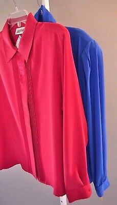 Lot of 2 Deadstock NWT Vintage 70s Silky Poly Secretary Blouses Blue Pink XL