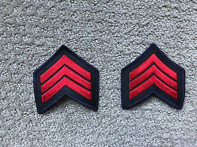 1 Pair Sgt. Sergeant Police Security Chevrons Stripes Patch Red & Blue