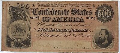 T-64 PF-1 $500 1864 Confederate Paper Money - Lighter red variety!