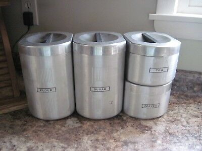 Vintage Mid Century Atomic Stacking Brushed Aluminum Kitchen Canister Set