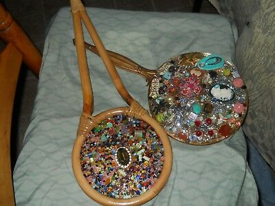 Two Beautiful Hand Made Beaded Ornate Mirrors