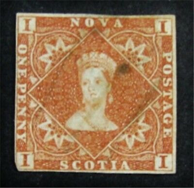 nystamps Canada Nova Scotia Stamp # 1 Used $650 Signed