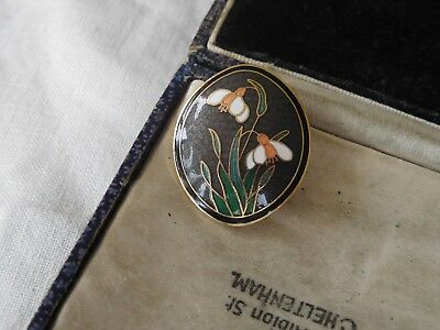 Pretty Vintage 1970s Enamel SNOWDROPS Brooch by Fish