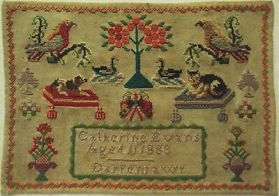 Late 19Th Century Welsh Cat, Dog & Birds Sampler By Catherine Evans Aged 11 1888