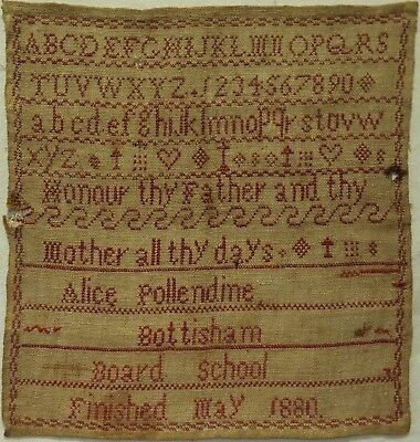 Late 19Th Century Red Stitch Work Schools Sampler By Alice Pollendine - 1880