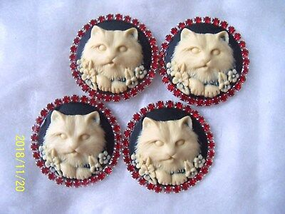 REDUCED WEDGEWOOD STYLE BUTTONS  WITH RHINESTONES ( 30mm )  (4 PCS) 01
