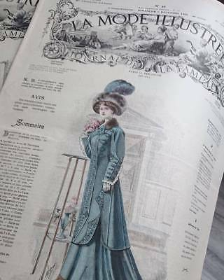 Superb Copy Antique French Couture Magazine Dated 1908 La Mode Illustre
