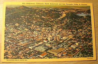 1940's  postcard Aerial view Hollywood California unposted
