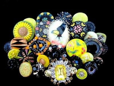 30 BUTTONS Victorian Mix of VINTAGE & NEW Glass & Rhinestones Black & Yellow