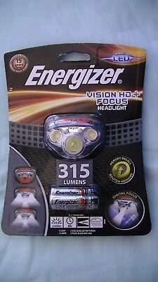 Energizer LED Headlight 315 Lumens Vision HD + Digital Focus With Batteries New