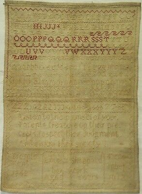 Mid 19Th Century Quotation & Alphabet Sampler By Louisa Sheppard Aged 6 - 1842
