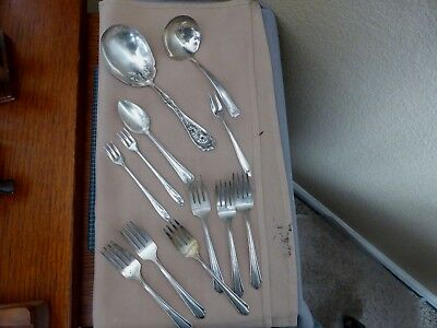Mixed Lot Of  12 Antique Silverplate Serving Pieces -  Ladle - Meat Fork - Spoon