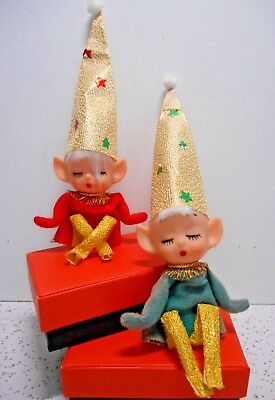 2 VTG Christmas Sleeping Elves Pixie Knee Huggers Ornaments Elf Shelf Decor CUTE