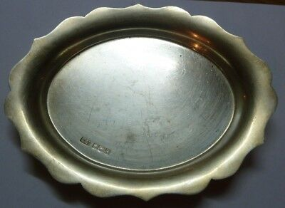 SOLID SILVER CARD TRAY SHEFFIELD 1959 STERLING   118.9grms