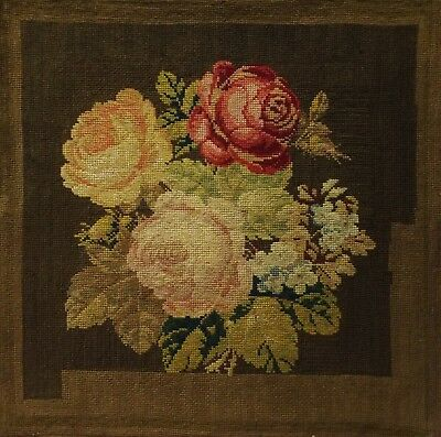 MID/LATE 19TH CENTURY NEEDLEPOINT PICTURE OF A FLORAL SPRAY - c.1870