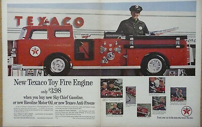 Texaco Toy Fire Engine Ad 1963 Print Ad