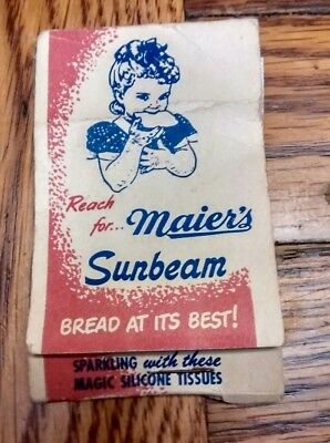 Antique Vintage Advertising Maier's Sunbeam Bread Magic Tissues Glasses Cleaners