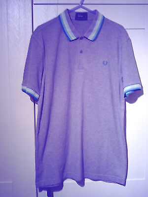 Fred Perry (Mod/indie) - Original Grey With Turquoise/yellow Trim Polo Shirt (M)