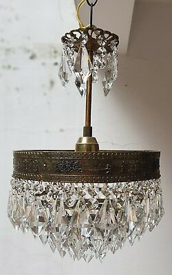 Antique French Basket Style Brass & Crystals small RARE Chandelier from 1950's