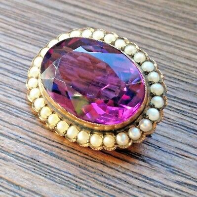Stunning Antique Victorian 9ct Gold Large Faceted Amethyst Pearl Pendant Brooch