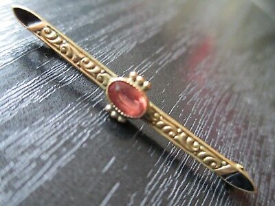 Beautiful Old Antique Victorian Gold Plated Black Enamel Pink Stone Pin Brooch