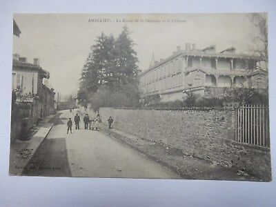 CPA AMBERIEU 1904 vue village route de St - Germain animée