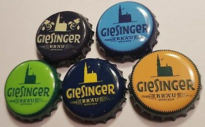 5x Giesinger Beer Munich Bavaria rare Crown Bottle Caps Collection Germany Bier