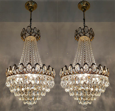 A Pair of Antique French Basket Style Brass & Crystals Chandeliers from 1950's