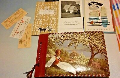 PHOTOGRAPH ALBUM NORWEGIAN TOUR HOLIDAY NORWAY 1950s PHOTO'S POSTCARDS tickets