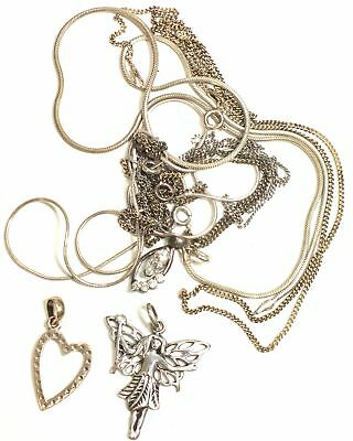 925 STERLING SILVER Collection of Assorted Chains w Pendants, 18.58g SCRAP - N06