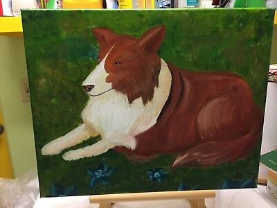 Painting Of A  Collie With Flowers