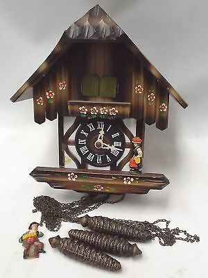 Vintage Wooden GERMAN CUCKOO CLOCK With Pendulums SPARES/REPAIRS - I07